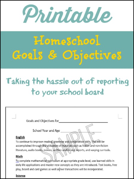 Printable goals and objectives for homeschool